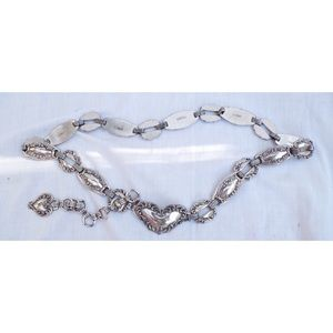 Vintage Silver Metal Heart Chain Belt